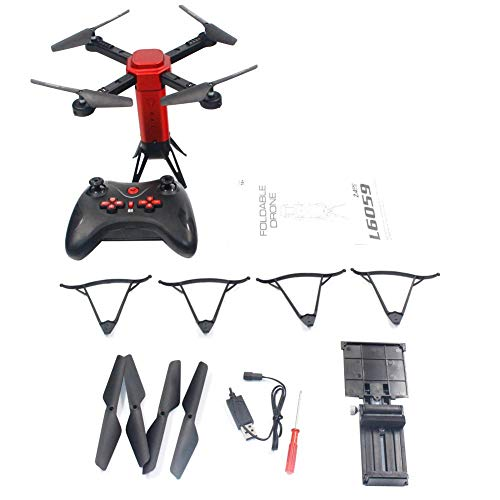 Nicemeet Visual Drone, Four-axis Toy Aircraft Folding Remote Control Aerial Photography 720P WiFi Image Transmission L6059 Red (Aerial Map Photography)
