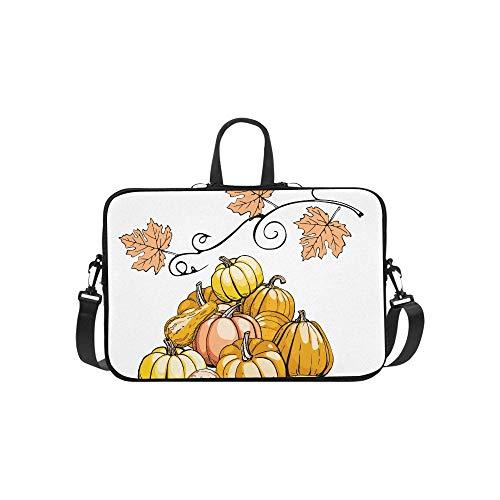 Hand-Painted Pumpkin Painting Pattern Briefcase Laptop Bag Messenger Shoulder Work Bag Crossbody Handbag for Business Travelling -
