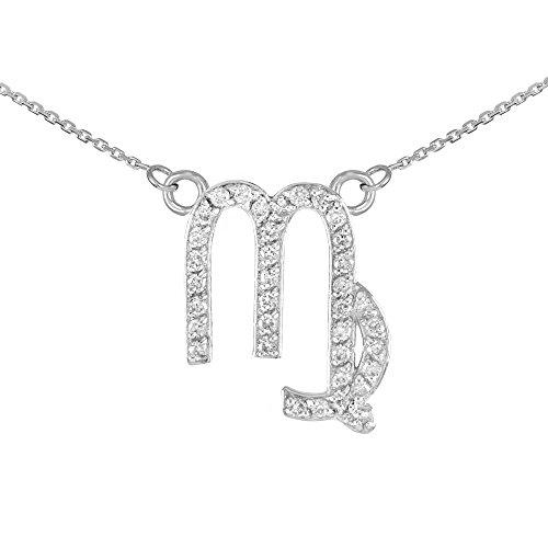 Collier Femme Pendentif 14 ct Or Blanc Vierge Signe Du Zodiaque Diamant (Livré avec une 45cm Chaîne)