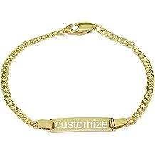 ProLuckis Personalized Baby Bracelet Silver ID Bracelet Engraved Custom Name Protection Bracelet Girls