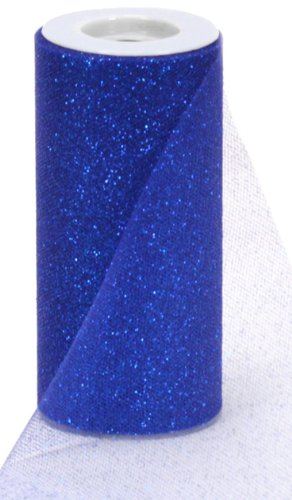 Offray Sparkle Tulle Craft Ribbon, 6-Inch by 25-Yard Spool, Royal (Tulle Royal Blue)