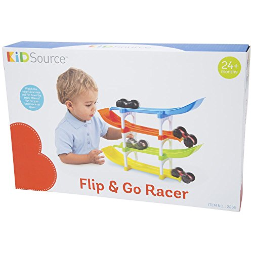 41DwSdvBKmL - KidSource Flip and Go Racer - 4 Level Race Track and Ramp Car Toy for Toddlers Ages 2 Years Old and Up