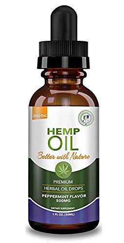 Hemp Oil 500mg - Peppermint - for Help with Stress Health & Pain Relief :: Anti-Anxiety, Inflammation, Sleep, Nausea, Depression :: MCT Oil Packed with Omega 3,6 Fatty Acids :: Anti-Inflammatory
