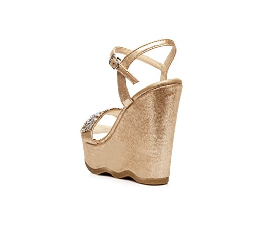 Dream Women's Wedge Shoes Hand-Woven Thick-bottomed High-Heeled Sandals Sexy Ankle Shoes (Color : Gold 9.5cm, Size : 35)