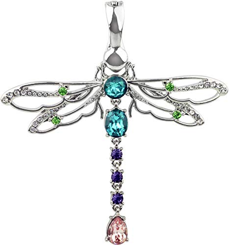 - Wearable Art by Roman Crystal Elements Dragonfly Pendant Silver Tone Multi