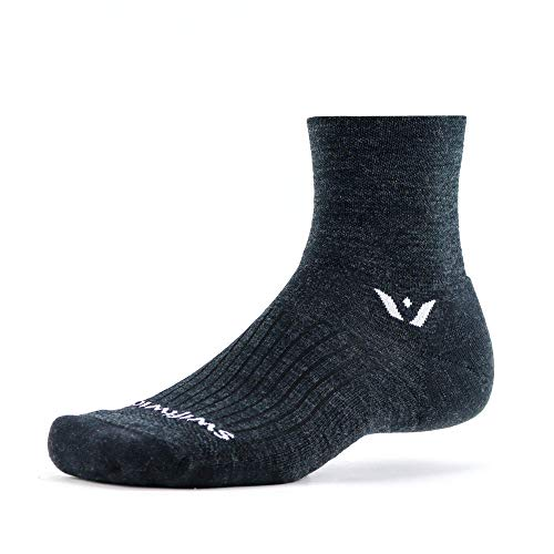Swiftwick- PURSUIT FOUR | Socks Built for Trail Running & Cycling | Merino Wool, Fast Dry, Ultimate Durability Crew Socks | Coal/Black, Large