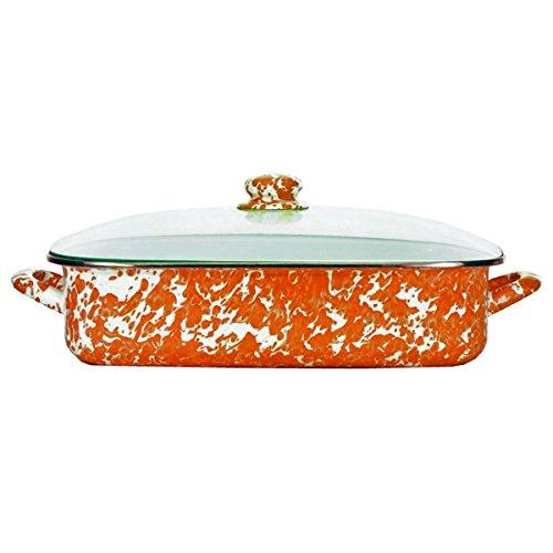 Enamelware -Orange Swirl Pattern -16 x 12.5 x 4 Inch Lasagna Pan Set by Golden Rabbit