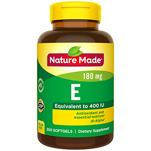 Nature Made Vitamin E 180 mg (400 IU) dl-Alpha Softgels, 300 Count Value Size for Antioxidant Support (Packaging May Vary) (400 Iu E Vitamin)