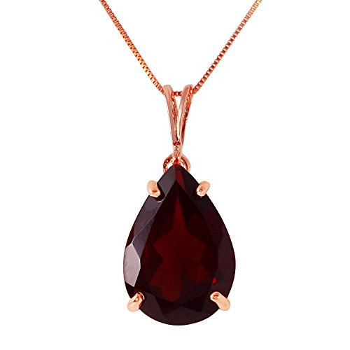 5 Carat 14k Solid Rose Gold Necklace with Natural Garnet Pendant