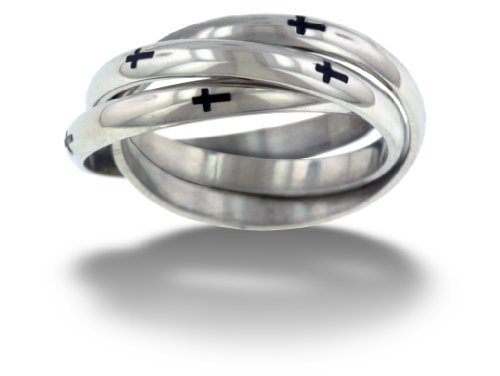 RSS8 Forgiven Jewelry-Thin Cross Triple Band Stainless Steel Ring size 10-Christian Jewelry