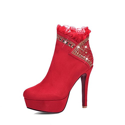 with and Solid Boots Toe Red Frosted Women's Lace WeiPoot Glass Closed Ornament Diamond OBSgOq