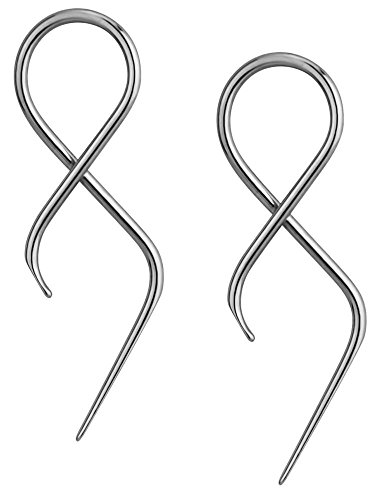 Forbidden Body Jewelry Pair of 16g Surgical Steel 1.4 Twisting Curved Hanging Loop Taper Earrings