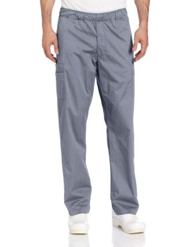 Landau Men's Comfortable Elastic Waist Stretch Cargo Scrub Pant Uniform, Steel Gray, Medium