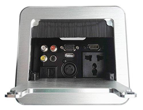 (Multimedia Clamshell Desktop Socket Multifunctional Office Hidden Desktop Power Box Multi Outlet with HDMI / VGA / AV / Audio / USB2.0 / Network / Cannon / Universal Power Socket)
