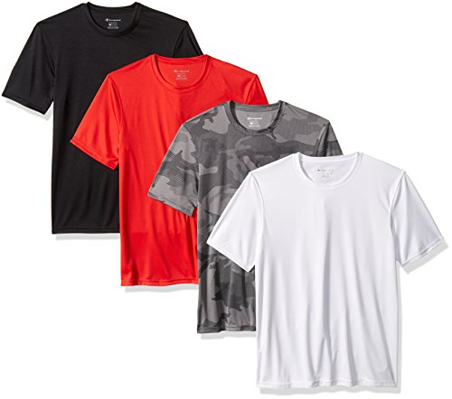 Champion Men's Double Dry 4 Pack Tee, Black/White/Scarlet/Stone Camo, (Camouflage Stone)