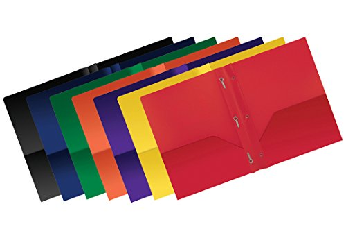 Better Office Products Poly 2 Pocket Folders with Prongs, Heavyweight, 6 Pieces, Assorted Primary Colors, Letter Size