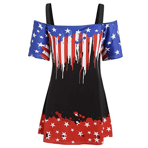 Xavigio Women's Off Shoulder Strap Short Sleeve American Flag Print Tunic Tshirts Casual Plus Size Blouses Top