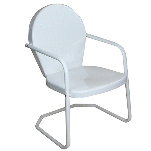LB International 34'' White Retro Metal Outdoor Tulip Chair by LB International