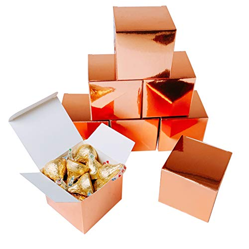 Rose Gold Party Favors Boxes - Small Candy Treat Gift Boxes Bulk Wedding Bachelorette Bridal Shower Birthday Party Boxes Supplies, 50pc ()