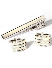 Rectangle Shells Mother of Pearl Cufflinks Platinum Plated Men Tie Bar Clip and Cufflinks Set