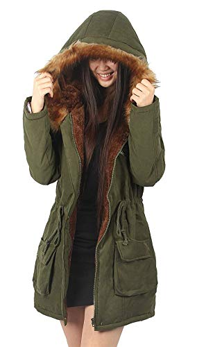 Comfortable Transition Casual Drawstring Warm Oversize Longsleeve Armygreen Women Coat Winter Coat Elegant Parka Hooded Emmala with Fur Outerwear Coat Soft Coat CqU7wP