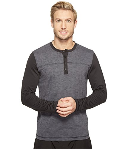 prAna Men's Zylo Henley Top, Charcoal Color Block, Small