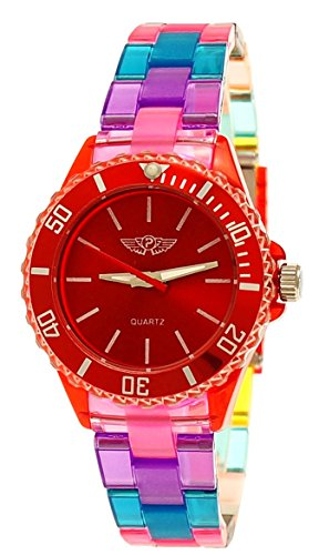 Price comparison product image Cool NY London Rainbow Plastic Watch Colorful Plastic Ladies Bracelet Watch Boys Girls Wrist Watch Red Green Blue Yellow Including Watch Box and Bracelet Shorter