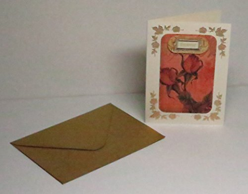 (Handmade 3D Forever Red Rose Vellum on Cream Blank Card with Gold Floral Corners & Gold Envelope - One of a)