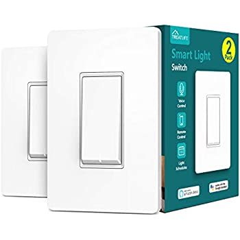 Treatlife Smart Light Switch, Neutral Wire Needed, 2.4Ghz Wi-Fi Light Switch, Works with Alexa, Google Assistant and IFTTT, Schedule, Remote Control, Single Pole, ETL Listed (2 PACK)