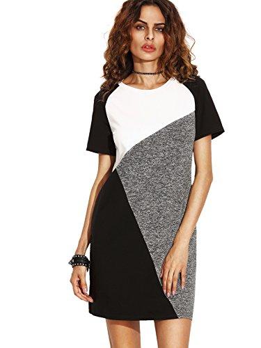 SheIn Women's Casual Raglan Short Sleeve Color Block Stretchy Tee Dress Multicolor -