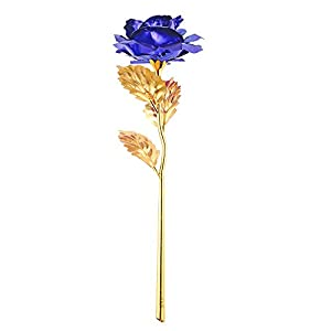 ALLOMN Rose 24K Gold Plated Rose Flower Best Gift for Valentine's day Mother's day Christmas Birthday with Gift Box Golden/Red/Purple/Blue 79