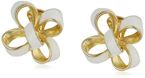Kenneth Jay Lane White Enamel Bow Clip-On Earrings