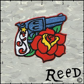 Artist Reed Gun Pistol & Rose Embroidered Iron On Badge Applique Patch FD - Right