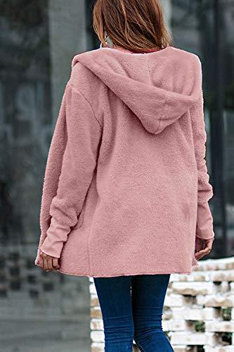 Femmes Floue Peluche Vestes Survêtement Capuche À Cardigan Manteaux En Rose fCCW6
