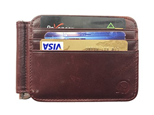 (Lionpapa Men's Slim Bifold Front Pocket Wallet Leather Spring Loaded Money Clip (Red))