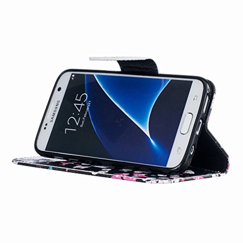 Yiizy Samsung Galaxy S7 G930 Funda, Gato Vasos Diseño Solapa Flip Billetera Carcasa Tapa Estuches Premium PU Cuero Cover Cáscara Bumper Protector Slim Piel Shell Case Stand Ranura para Tarjetas Estilo