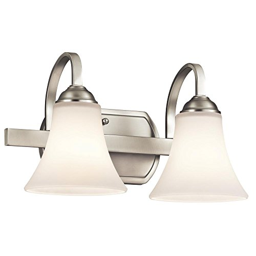 Kichler 45512NI Keiran 2-Light Vanity Fixture and Satin Etched White Glass, Brushed Nickel Finish by Kichler