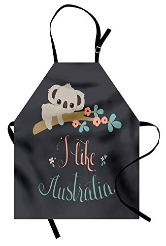 Lunarable Koala Apron, Blooming Floral Tree Branch with a Cute Baby Bear Australian Wildlife Themed Cartoon, Unisex Kitchen Bib Apron with Adjustable Neck for Cooking Baking Gardening, (Australian Themed Costumes Ideas)