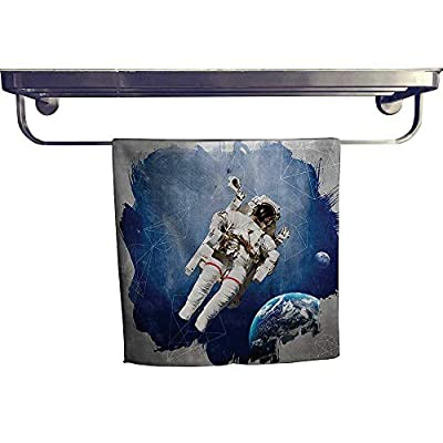 Leigh home Beach Towel?Artsy Grunge Astraut and PlanEarth with Digital Watercolor Style ?Luxury Towels Highly Absorbent Extra Soft