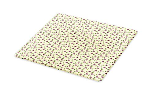 (Lunarable Echinacea Cutting Board, Repeating Pattern with Different Order Illustrated Cone Flowers, Decorative Tempered Glass Cutting and Serving Board, Large Size, Pale Yellow Green Multicolor)