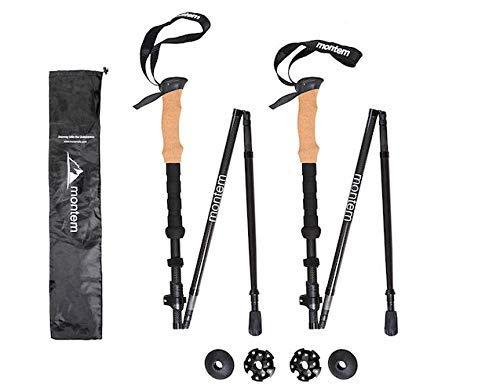 Montem Folding Collapsible 3K Carbon Fiber Hiking/Walking/Trekking Poles - One Pair (2 Poles) (Black) [並行輸入品] B07R4WH1VS