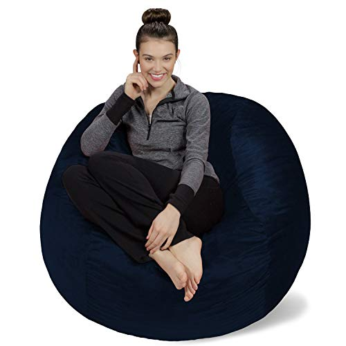 Sofa Sack - Plush, Ultra Soft Bean Bag Chair - Memory Foam Bean Bag Chair with Microsuede Cover - Stuffed Foam Filled Furniture and Accessories for Dorm Room - Navy 4' (Renewed)
