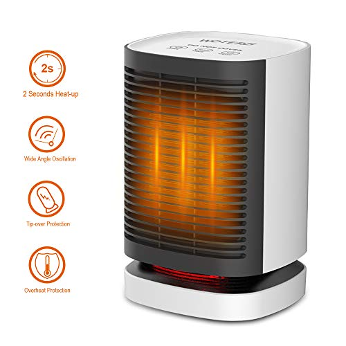 WOTERZI Ceramic Space Heater Portable Personal Electric Heater Fan with Hot Natural Wind, Overheat Tip Over Protections, 2s Heat-up, Oscillating Function, Quiet for Home Office Use 950W 700W 5W Wh