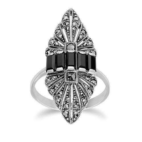 Gemondo USA 925 Sterling Silver Marcasite & Black Spinel Art Nouveau Ring (6)