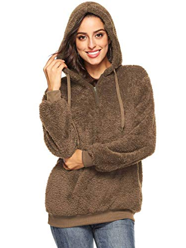 - Famulily Women's 1/4 Zip Fuzzy Loose Sherpa Pullover Tops Fleece Hooded Sweatshirt with Pocket Brown M