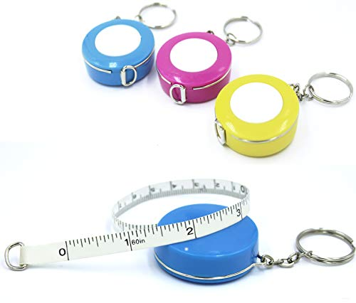 [3 Pack] Snik-S 60-Inch/150cm Push Button Soft and Retractable Tape Measure Ruler with Keychain for Body Double Sided Tailor Sewing Craft Cloth Dieting Measuring Tape (Pink,Blue,Yellow)