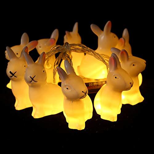 Herefun Cadena de Luces LED, 1.65M 10 Luces LED para Pascua Conejo de Pascua, Decoración para Pascua Fiesta de…
