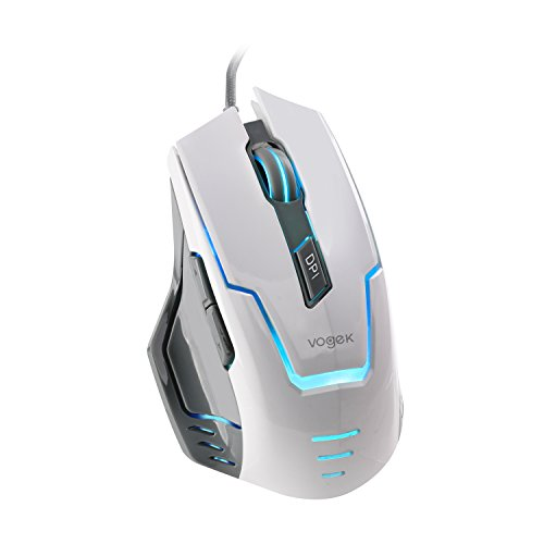 Gaming Mice, Vogek 7-Color LED Light USB Wired Gaming Mouse, Programmable Ergonomic Game Computer Mice with 4000 DPI and Advanced Gaming Sensor