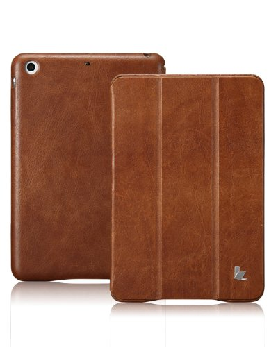 (Jisoncase Vintage Genuine Leather Smart Cover Case for iPad mini 3 & iPad mini 2 & iPad mini, JS-IM2-01A20-Brown)