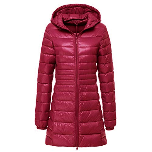 Winter Hooded Jacket Women Long Coat Women's Down Jackets Coats Campera Mujer,6Dark Red,XXL (Best Blender For Ice Australia)